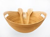 eBoo - Spun Bamboo Bowl (Boat shape) + 1 set servers 竹沙拉碗 (船形)+ 1x沙拉用的竹器具