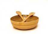 eBoo - Spun Bamboo Bowl (Round shape) + 1 set servers 竹沙拉碗 (圓形)+ 1x沙拉用的竹器具