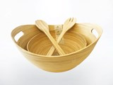 eBoo - 2 Spun Bamboo Bowl + 1 set servers 2x竹沙拉碗 +1x沙拉用的竹器具